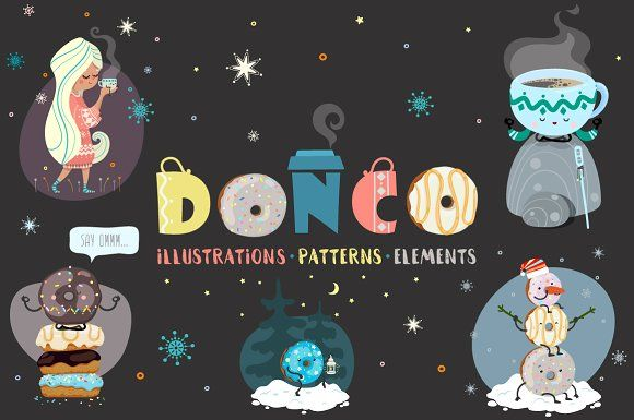 DONCO (coffee and donut) by Good Genie on @creativemarket