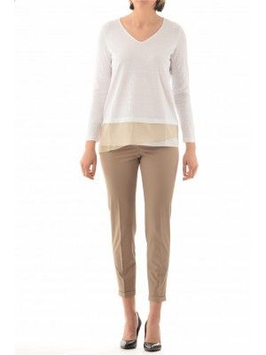 FABIANA FILIPPI WOMAN CLOTHING-SPRING SUMMER 2015 COLLECTION. This long sleeved woman sweather in cotton with silk detail is of the BRAND all MADE IN ITALY FABIANA FILIPPI.  Also the trousers in stretch cotton are of FABIANA FILIPPI. Buy on our online-shop www.lanamoda.it