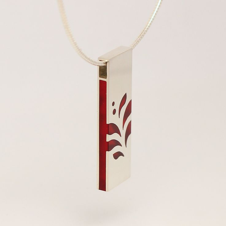 Red acrylic glass and sterling silver leaf pattern charm necklace by intuitashop on Etsy