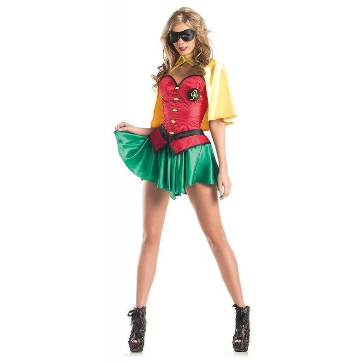 Female Superhero Costume Adult Robin Outfit Halloween Fancy Dress   eBay