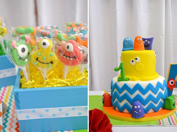 Colorful Monster Themed 1st Birthday Party
