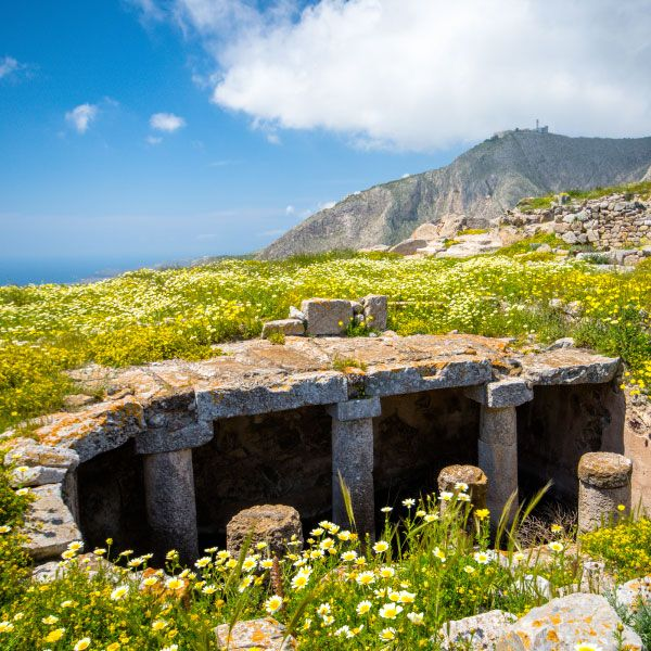 The ruins of Thira, an ancient city constructed with limestone from the mountain (named Mesa Vouno). A great idea for a cultural day trip!