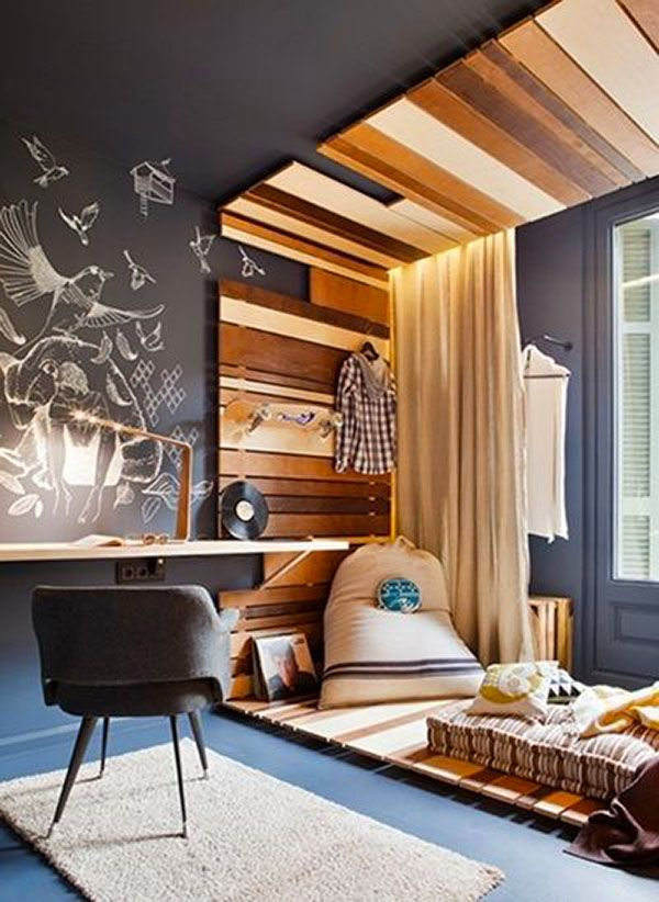 Use reclaimed wood to decorate your home.  Beautiful use of hardwoods and mid century decor.