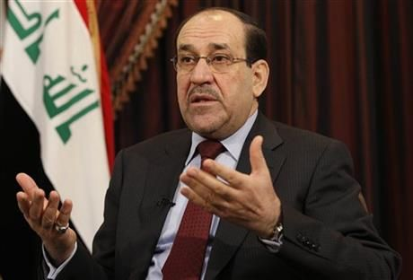 FILE - In this Dec. 3, 2011, file photo, Iraq's Shiite Prime Minister Nouri al-Maliki talks during an interview with The Associated Press in Baghdad, Iraq. (AP Photo/Hadi Mizban, File) ▼11Jun2014AP|US urges Iraqi unity to defeat violent insurgency http://bigstory.ap.org/article/us-urges-iraqi-unity-defeat-violent-insurgency #Nouri_al_Maliki