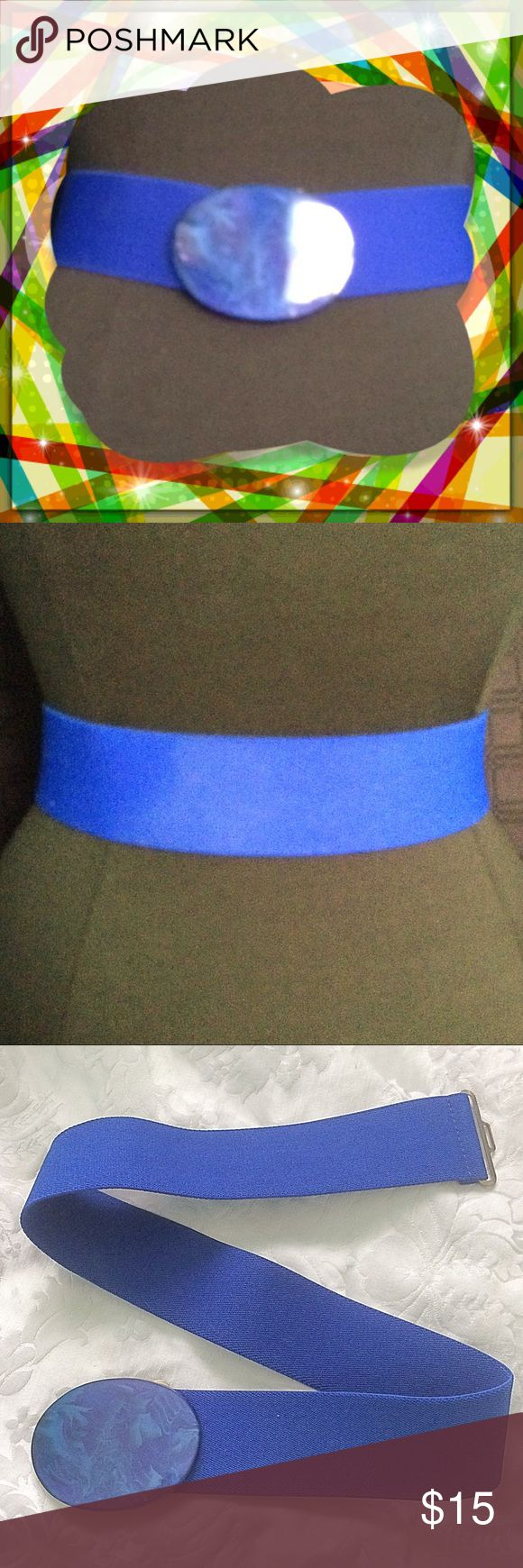 """Blue Stretch Belt / Vintage / Stretches 28"""" to 32"""" Blue Stretch Belt / Vintage / Stretches 28"""" to 32"""" / 2"""" wide. Please feel free to make an offer - Enjoy BIG discounts on bundles & save $$$ on shipping! I package safely & ship fast.  TY & Happy Poshing! 💜💜💜 Accessories Belts"""