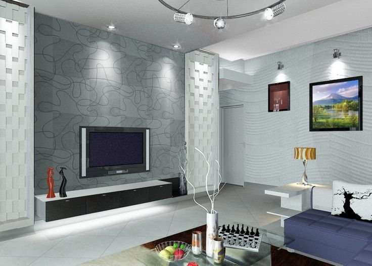 Living Room, Inspiring Living Room Interior Featuring TV With Porcelain Tile  Wall Decor Track Pendant Lamp Marble Floor Glass Table White Sofa Cushu2026 Part 72