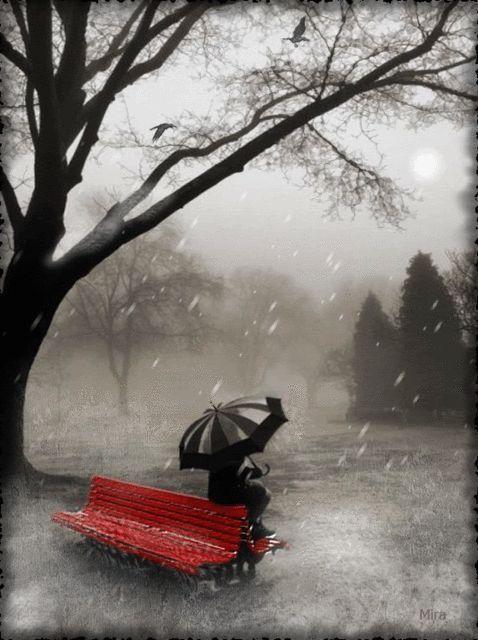 All alone in the rain