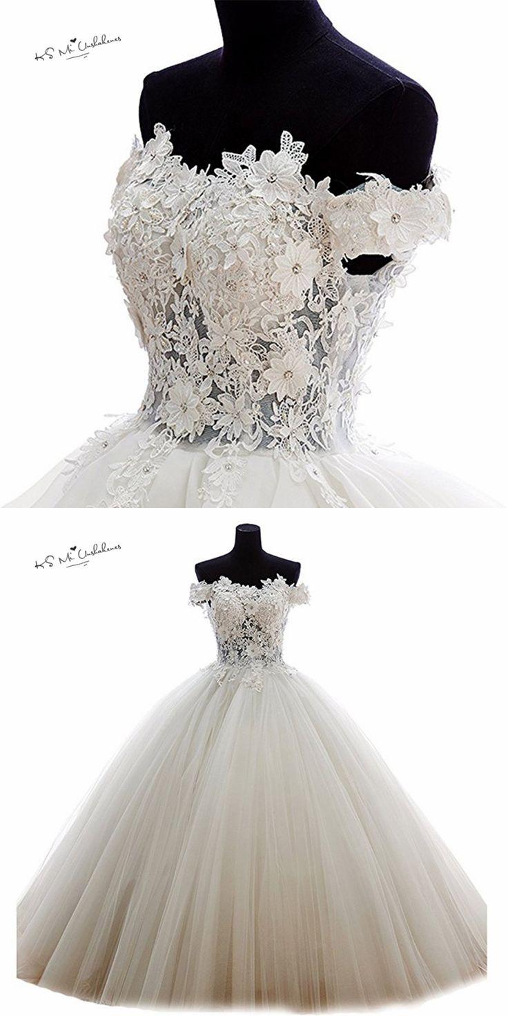 Vestidos de Casamento Ball Gown Wedding Dress off Shoulder Vintage Wedding Gowns Lace 3D Flowers Bride Dresses China Buttons