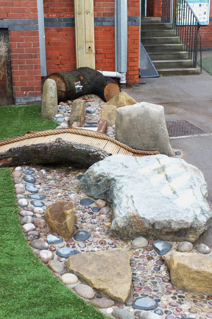 Water Play Stream with Bridge and Boulders - Infinite Playgrounds