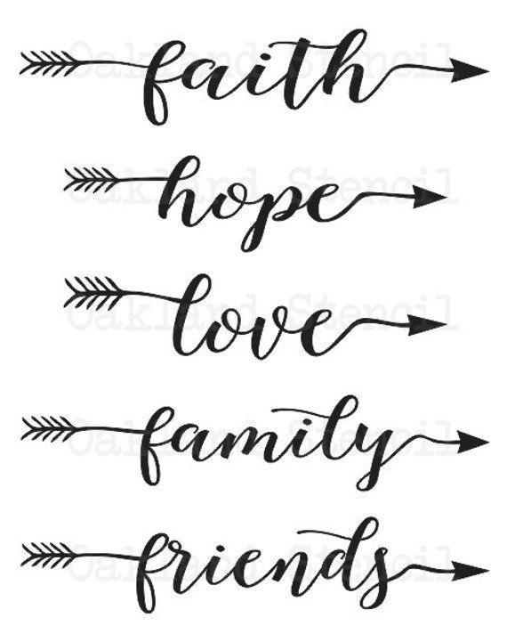 Faith Hope Love Family Friends Stencil 6x24 One Word With Arrow