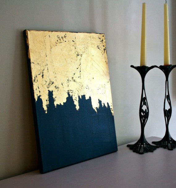 Midnight Gold Leaf Painting Modern Art Acrylic Shabby Chic Artwork Blue And Navy