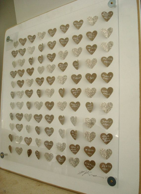 RESERVE 3D Hearts guest book Alternative:  Baby Shower Guest Book / Vintage Children's Book and Signing Hearts.SIZE MEDIUM