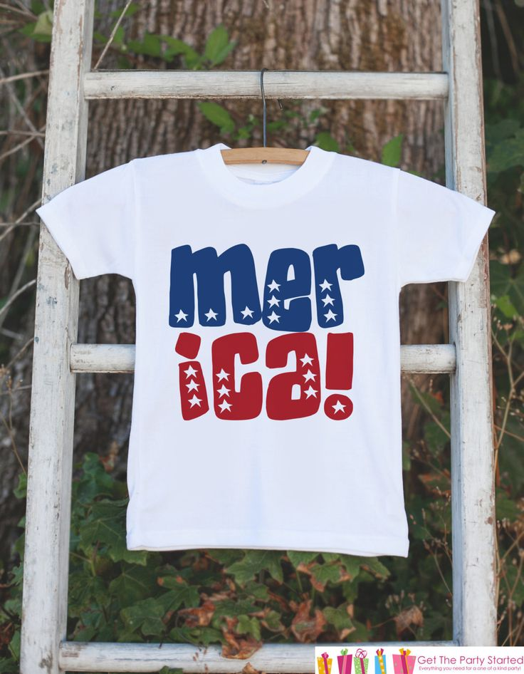 Kids 4th of July Outfit - Patriotic 'Merica Onepiece or Tshirt - Fourth of July Shirt for Baby, Toddler, Youth - Kids Patriotic Shirt
