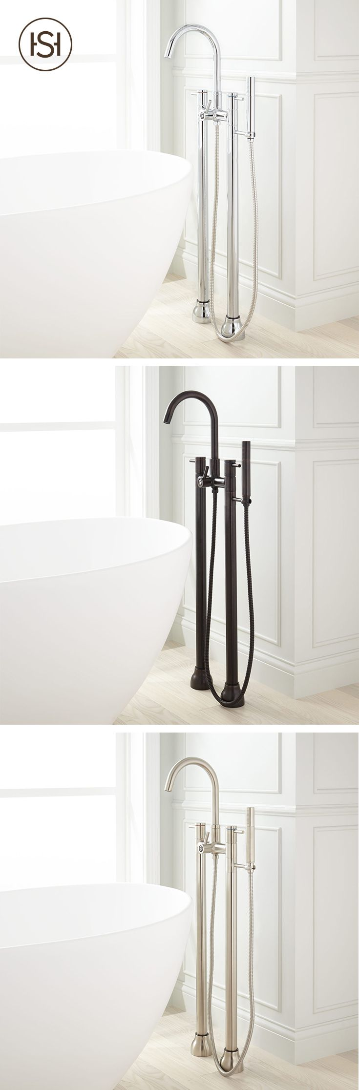 Featuring a streamlined design on the handles and hand shower, the Tolovana Freestanding Tub Faucet with Hand Shower is a sleek addition to your bathroom. The dark oil-rubbed bronze finish can add some bold contrast when paired with a stark white tub.