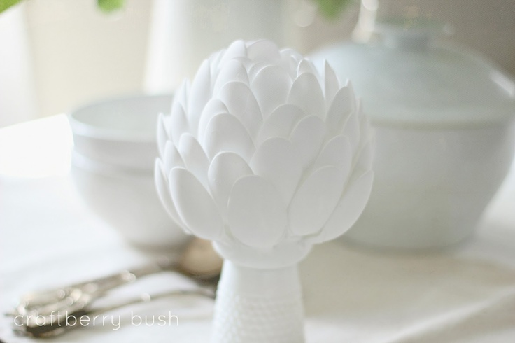 Artichoke sculpture made from plastic spoons! via Craftberry Bush. I must make this!