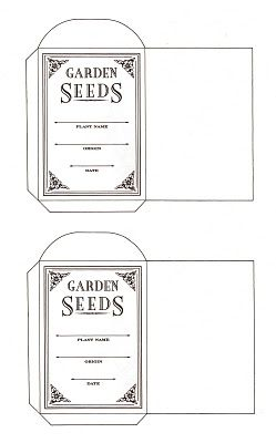 Click on the image below and get a full-size image with  two (2) seed packets per sheet. No need to use card stock ~ inkjet paper is fine. I love to gather and save seeds. These seed packages make nice stocking stuffers and Christmas card inserts for your gardening friends. Nice way to start a friendship garden. Enjoy and share!