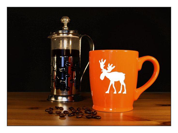 Whimsical Moose Coffee Mug - #3 - Etched 17 oz Coffee Mug - Large Tea Cup - Ceramic Coffee Mug - pinned by pin4etsy.com