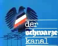 der schwarze Kanal titel graphic.  The black, white and red sash on the (West German) Eagle's chest is the flag of the pre-World War I German Empire while the background view of rooftops/antennas represents a parody the 1960s logo of ARD's news programme Tagesschau.