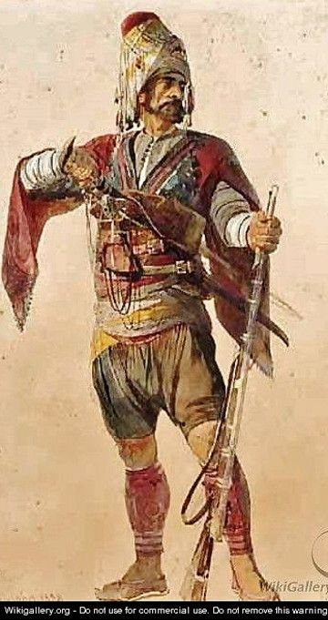 'A Bashi Bazouk', ca. 1870. Painting by Carl Haag (1820-1915). Costume from the Aegean region, typical of the 'Efe / Zeybek' (the local 18th-19th century people's militia, who sometimes turned themselves into professional brigands, or joined the Ottoman army as 'başıbozuk' (mercenary, or irregular soldier).