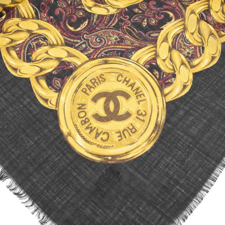 "Chanel Black ""31 Rue Cambon"" Wool & Silk Scarf"