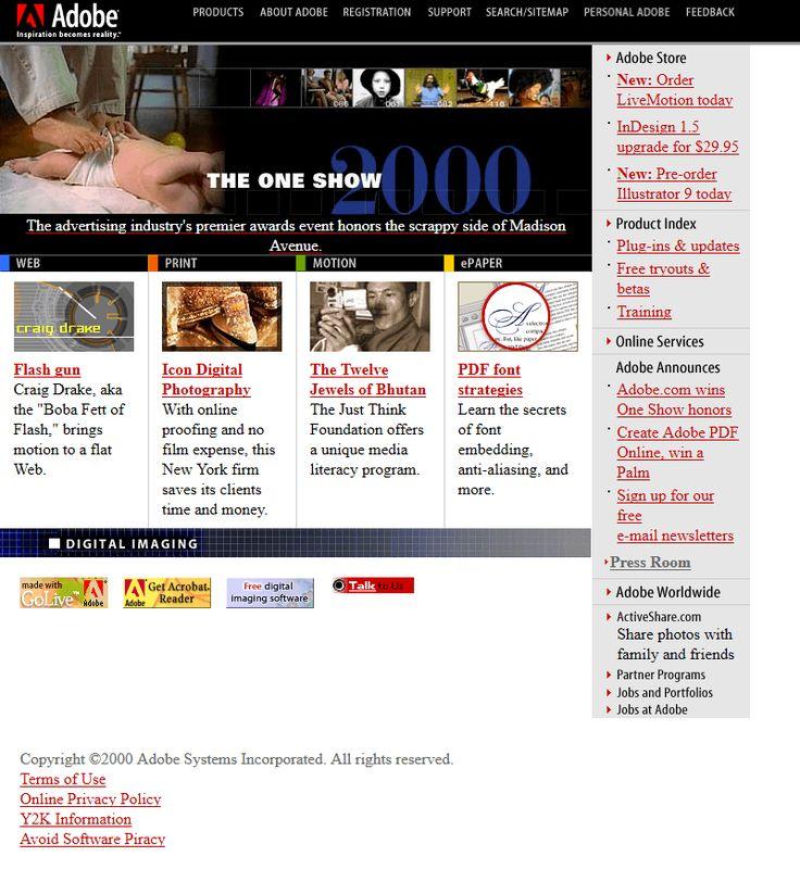 Adobe website in 2000