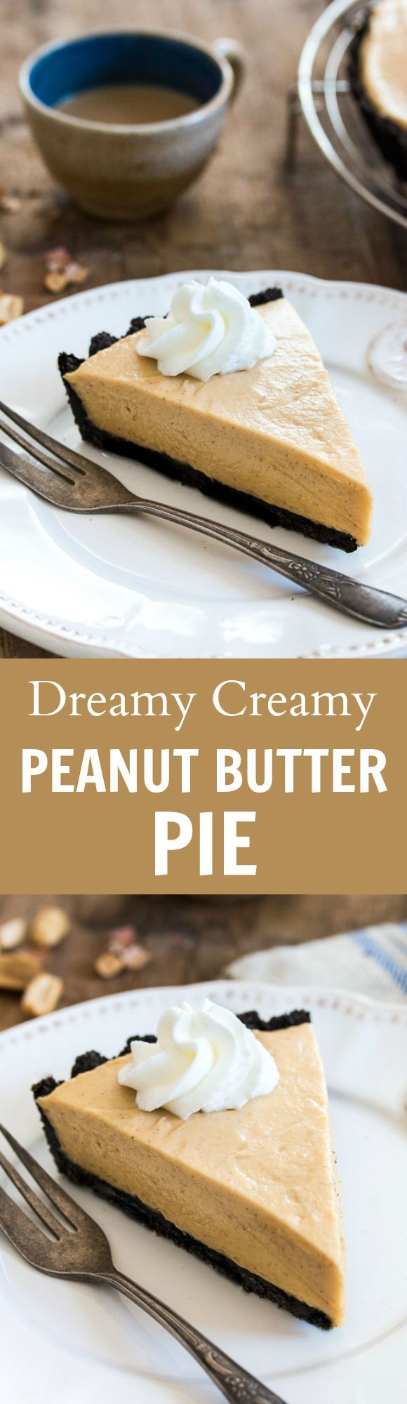 Dreamy, creamy classic peanut butter pie made of chocolate cookie crust and a fluffy peanut butter mousse filling.