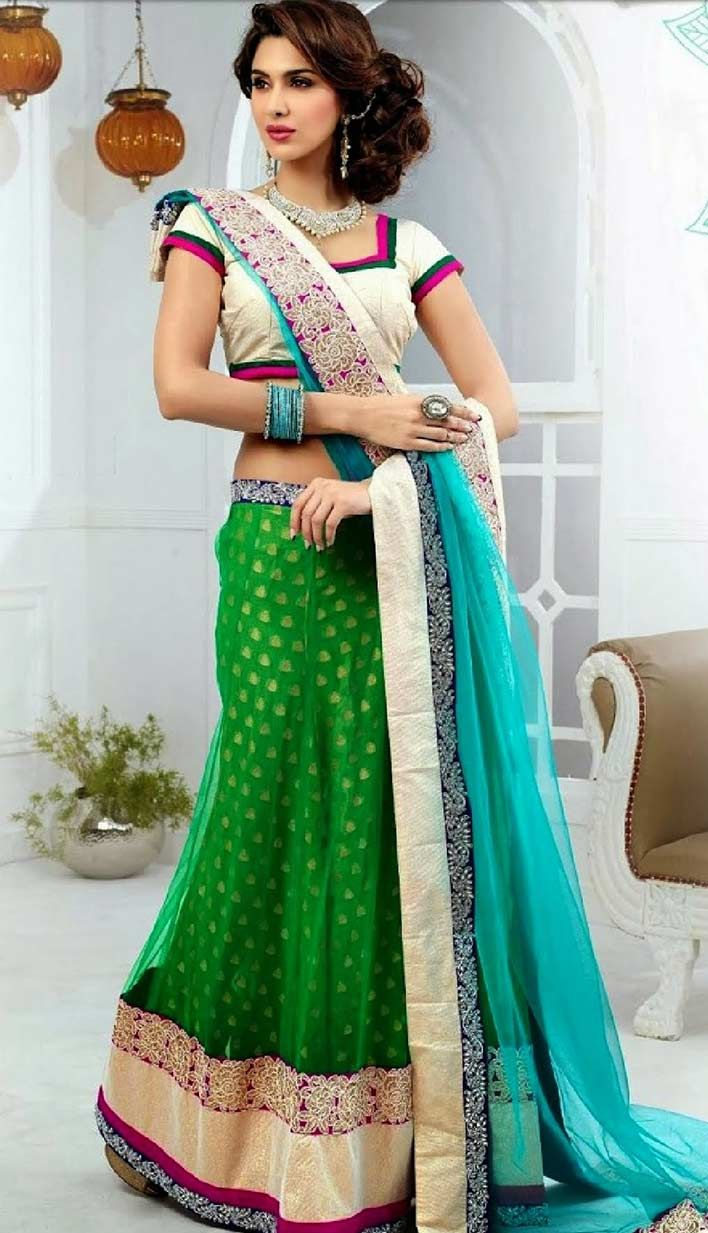 Get this Indian beautiful Green wedding Nett #DesignerLehengaCholi Product code: KBL-42046 Price: INR 7986(Unstitch Blouse), Color: Green    Shop Online now: http://www.efello.com/indianethnic/Bridal-Fashionable-Indian-Green-Nett-Designer-Lehenga-Choli-140272