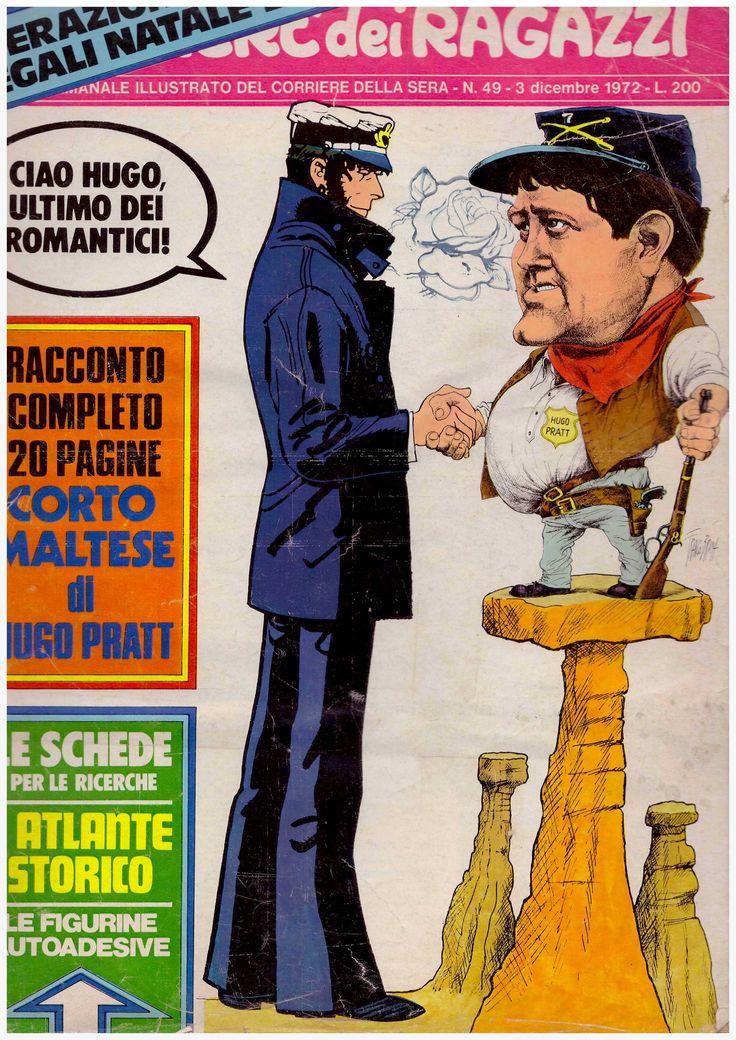 Copertina del Corriere dei Ragazzi del 3 Dicembre 1972 dedicata a Corto Maltese e Ugo Pratt