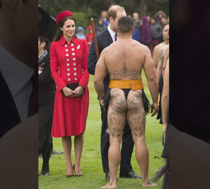 Kate Middleton -- Welcomed to New Zealand by Half-Naked Men