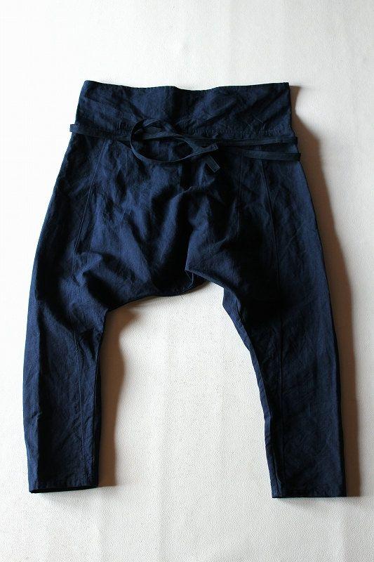 Antique linen drop-crotch pants/indigo over dye/French linen/France/handmade/for…