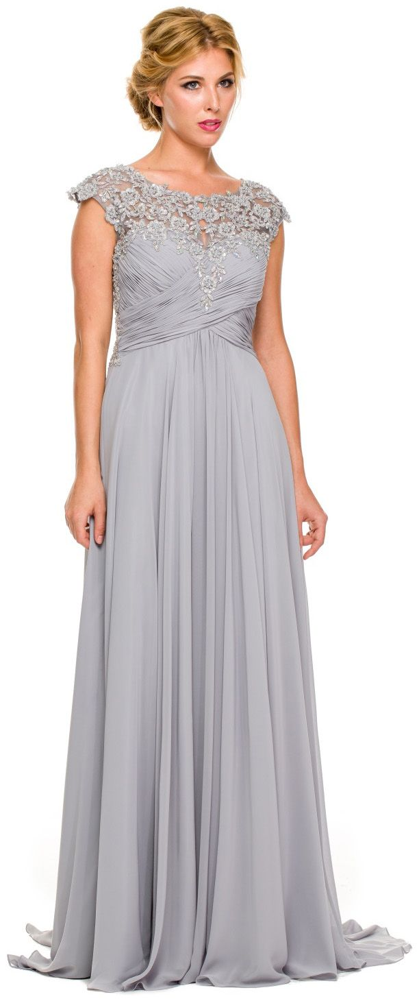 Pinterest flapper wedding dresses 1920s style and adrianna papell - Plus Size Silver Formal Gown Cap Sleeve Empire Waist Full Length