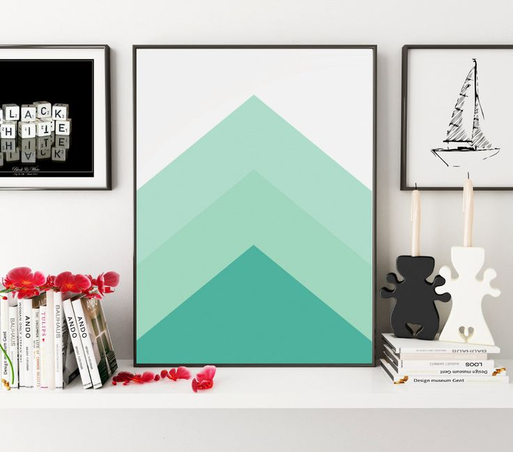 Mint Art, Geometric Prints, Printable Art, Mint Decor, Geometric Art, Minimalist Art, Simple Decor, Home Decor