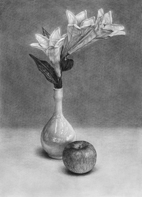 Картинки натюрморт карандашом цветы ребенок просто