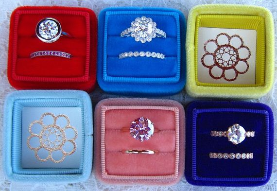 $34.75 Julia's Wedding Ring Box, Handmade Velvet Ring Box for Your Engagement Ring and Wedding Band