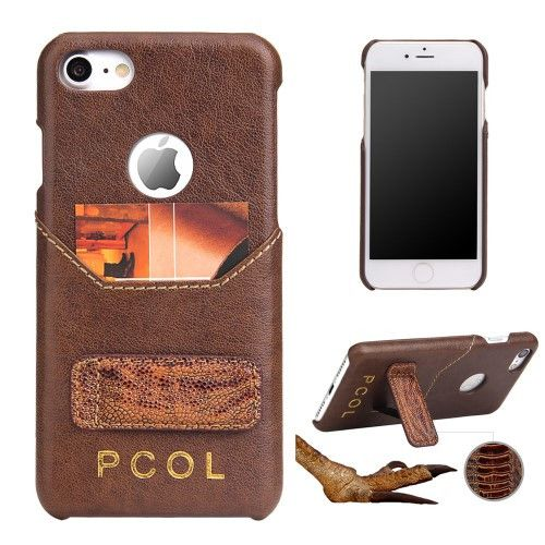 PCOL for iPhone 7 Luxury Ostrich Foot Top-layer Cowhide Leather Skin Hard Cover - Brown