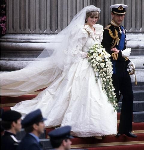 Close up of Princess Diana's wedding bouquet. A cascading bouquet of gardenias, orchids, lily of the valley, roses, freesia, and myrtle, weighing 7 pounds.