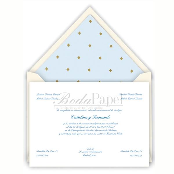 Invitación clásica Diamond, nueva creación de Boda Papel