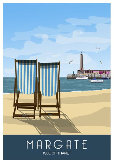 MARGATE. Seaside poster of Deck Chairs on Margate Beach. Harbour Arm in Background. A4, A3, A2 by WhiteOneSugar on Etsy https://www.etsy.com/listing/169385864/margate-seaside-poster-of-deck-chairs-on