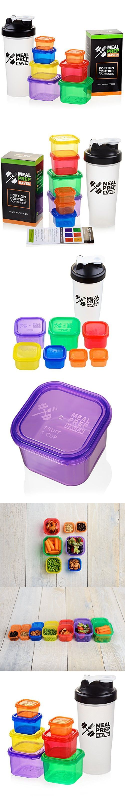 Meal Prep Haven 7 Piece Multi-Colored Portion Control Container Kit with Guide and Protein Shaker Bottle