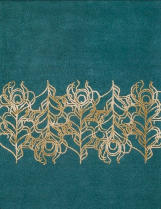 Rug Teal With Gold Pea Feathers