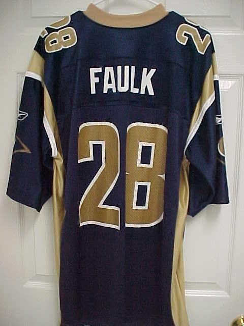 c5342e77 MARSHALL FAULK 28 St Louis Rams Blue Gold 100% Nylon Football Jersey ...