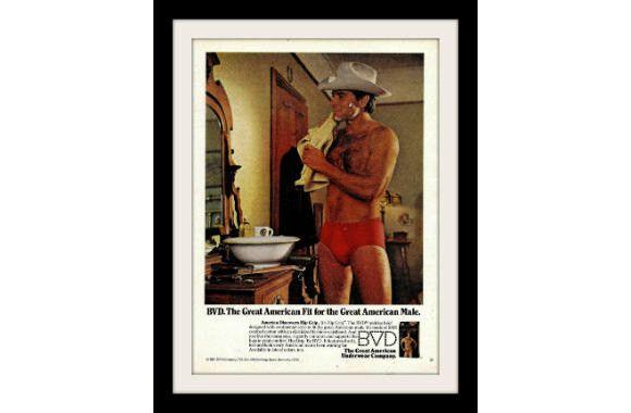 """1980 BVD Underwear Ad """"Cowboy: Red Briefs"""" Vintage Advertisement Print"""