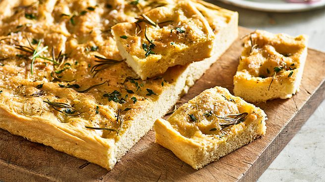 Focaccia: A beautiful combination of simple fresh flavours, all baked in one big Italian flatbread.