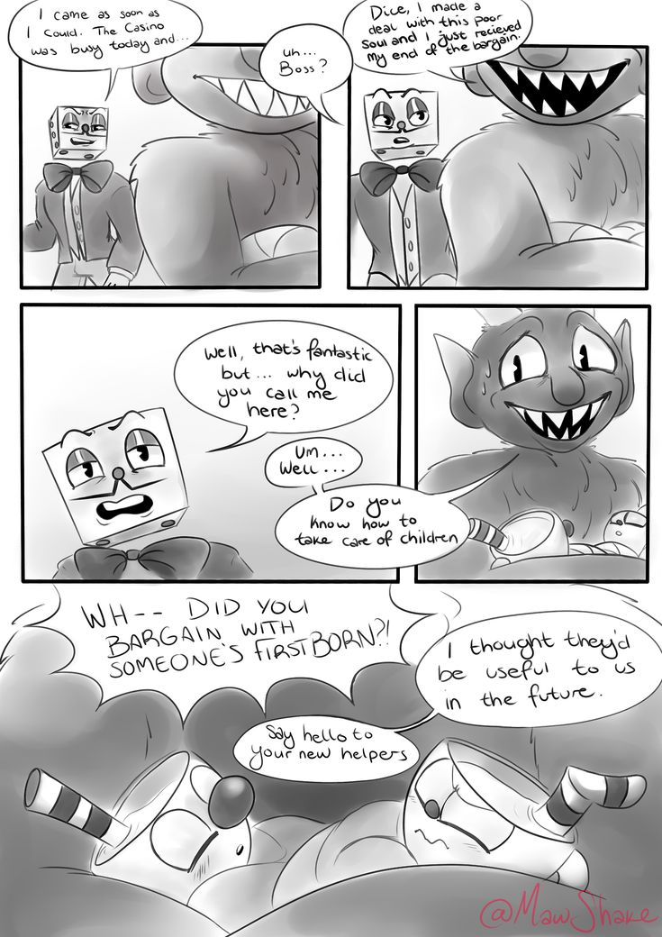 au where the devil bargains with Cuphead and Mugman's parents and the devil gets Cuphead and Mugman as first borns I think the creator of the au did a swell job on this and I can't wait see more of this!!