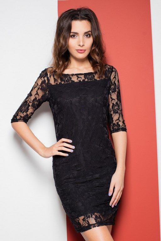 Seksowna ołówkowa czarna sukienka z koronkową górą
