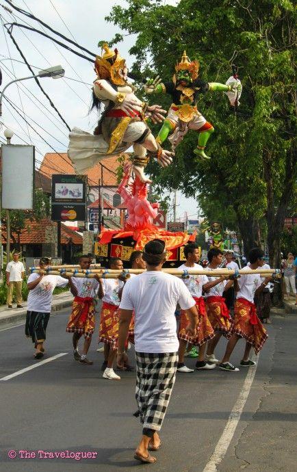 Nyepi Procession of the ogoh-ogoh statues,  Bali