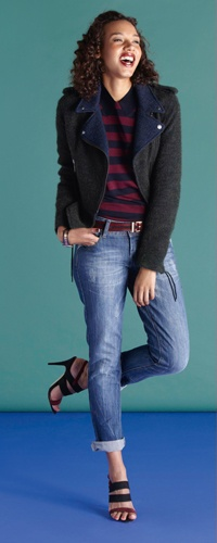 This tweed biker jacket is a comfortable alternative to leather.
