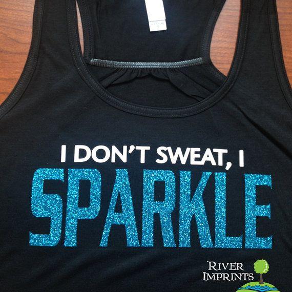 SPARKLE Flowy Tank, workout jersey racerback tank, I Don't Sweat, I Sparkle on Etsy, $21.00