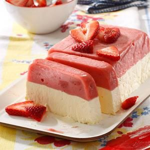 Strawberry Sorbet Sensation Recipe -On hot days in Colorado, we chill out with slices of this berries-and-cream dessert. The layered effect is so much fun. Use any flavor of sorbet you like. —Kendra Doss, Colorado Springs, Colorado