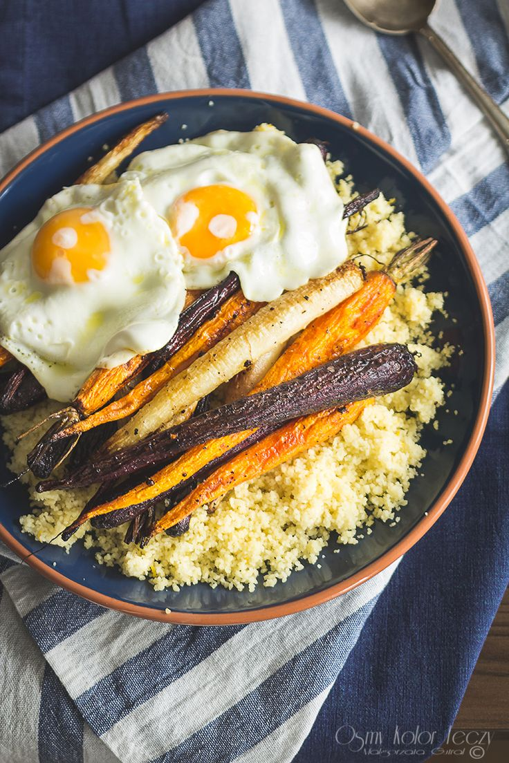 roasted rainbow carrots with lemon couscous ang egg